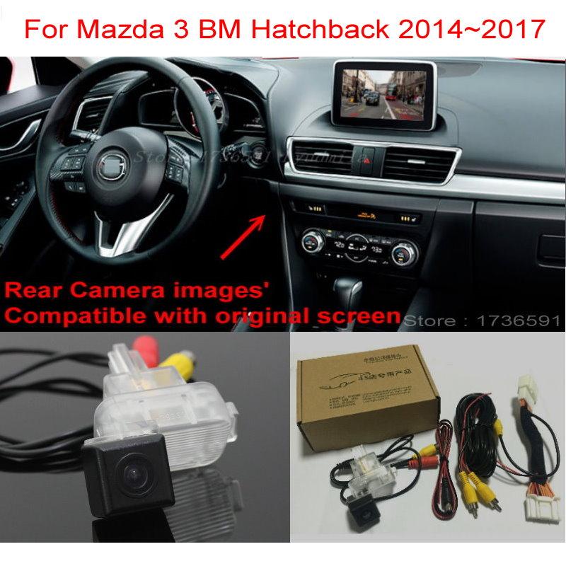 For Mazda 3 Mazda3 BM Hatchback 2014~2018 RCA & Original Screen Compatible Car Back up Reverse Camera Car Rear View Camera Sets
