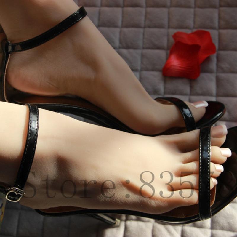 Pie falso de silicona de color trigo de 23cm 37 # para mujer, hueso interior, dedo del pie se mueve libremente, modelo de pie, modelo de zapato F-509