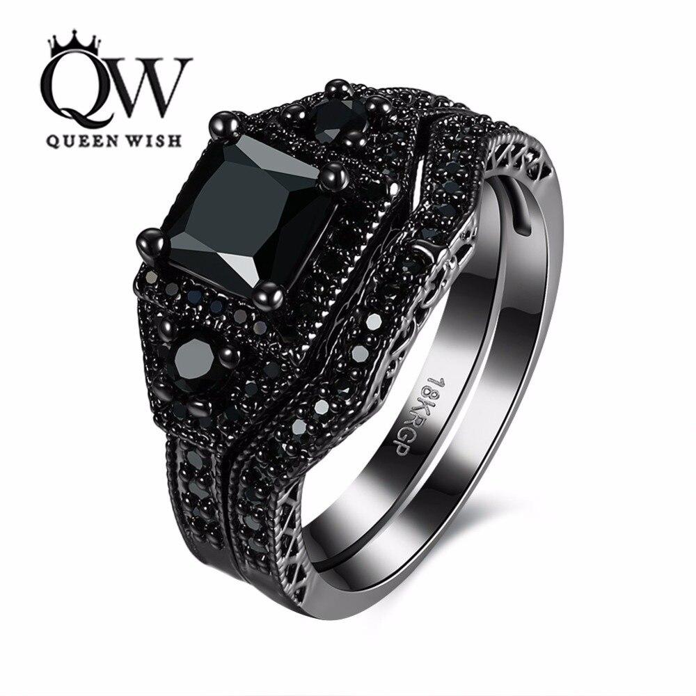 Queenwish Для женщин Обручальные кольца черный Кубического Циркония Инкрустация