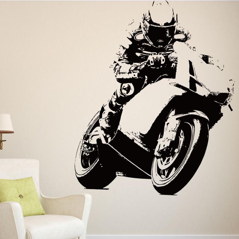 Corrida da motocicleta jogos adesivos de parede motocross decalques da parede da motocicleta miúdo quarto mural criativo corte vinil fácil removível