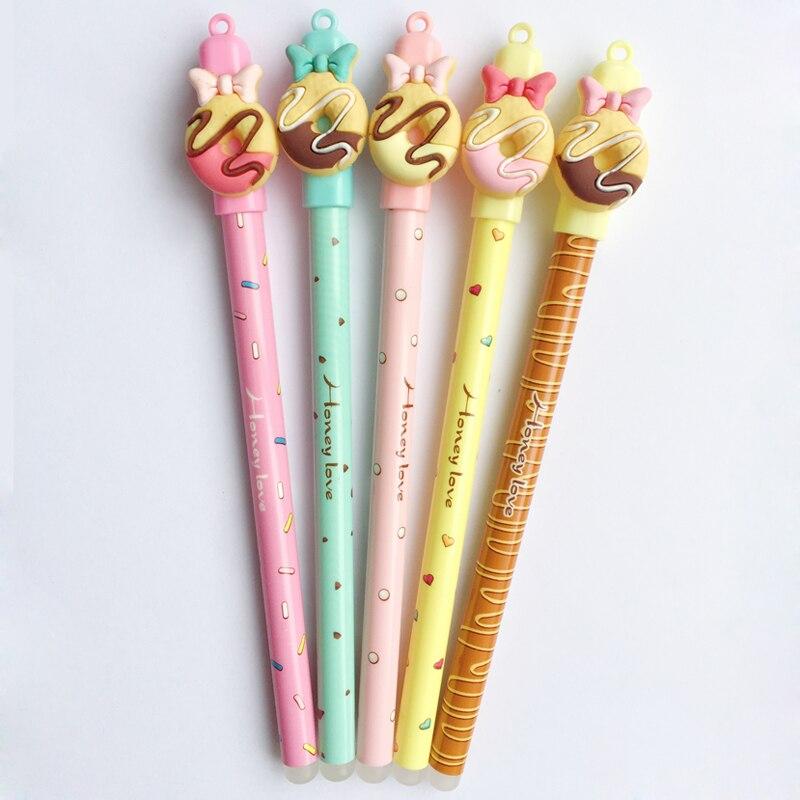 3 unids/lote Kawaii Donuts pluma borrable muñeca de dibujos animados frotando bolígrafos de Gel de 0,5mm en azul tinta Material Escolar de la escuela y suministros de oficina