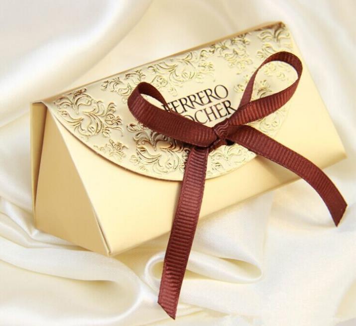 100 Uds oro boda caja de dulces para regalar caja creativa azúcar bolsa de boda clásico bolsa de regalo Ferrero Rocher caja de oro de partículas