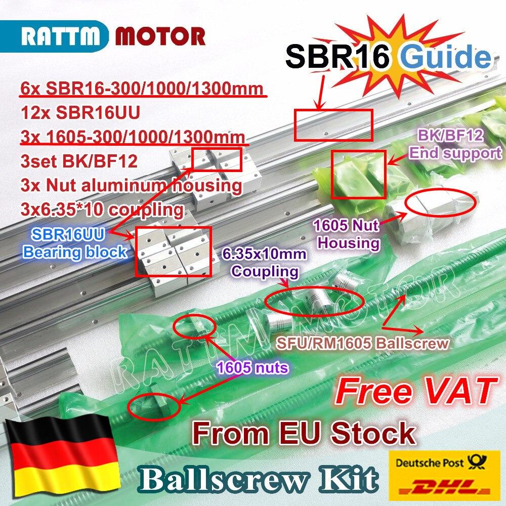 الاتحاد الأوروبي الحرة VAT 6 قطعة السكك الحديدية الخطية SBR16 L-300/1000/1300 مللي متر و 3 مجموعة ballبرغي SFU RM1605-300/1000/1300 مللي متر + الجوز و 3 مجموعة BK/B12 و اقت...