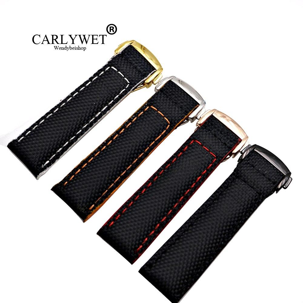 CARLYWET 18 20 22mm al por mayor negro con puntadas correa de reloj de repuesto de cuero de nailon para Omega Seamaster Planet-ocean
