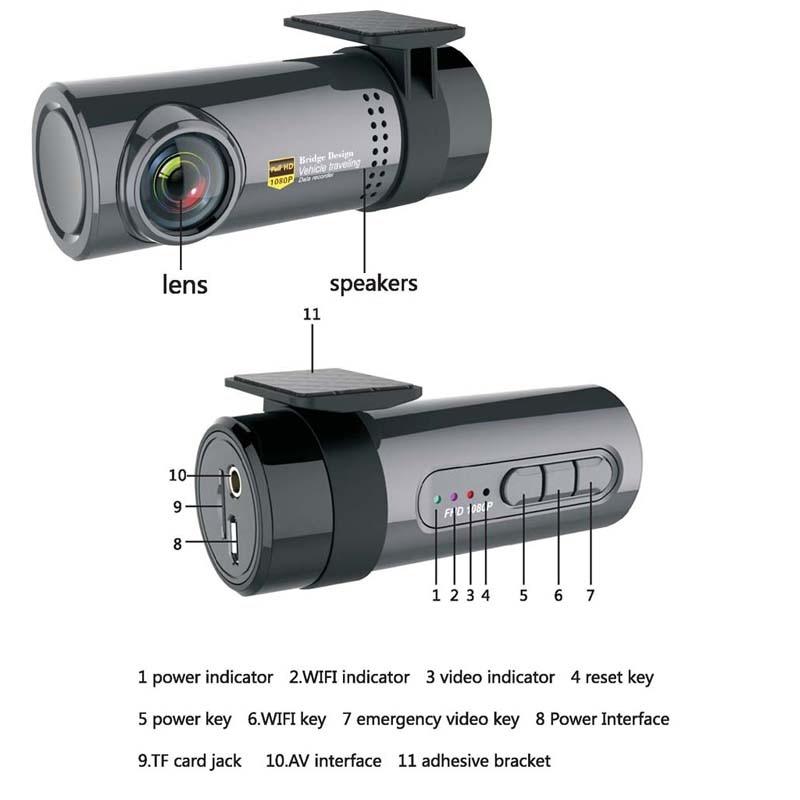 Anstar WiFi Car DVR Camera Night Vision Dash Cam 140 Wide Angle 360 Degree Rotatable Remote Monitor Mini Camcorder TF Card Sot