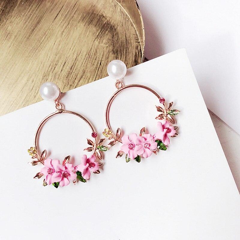 Elegant Korean Rhinestone Flower Big Round Circle Drop Earrings Charm Pearl Wedding Party Jewelry Pendientes For Women 6C1031