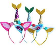 Mermaid Unicorn Headbands for Girls Teens Party Costume Fancy Dress Glitter Hairbands Theme Birthday Favors gifts