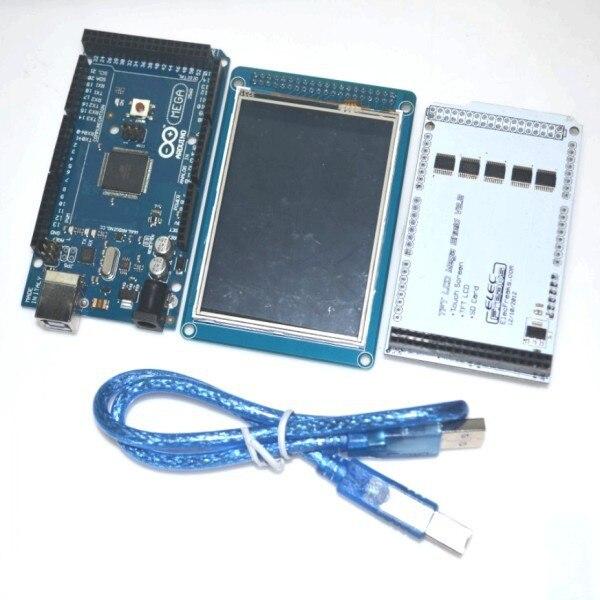 """TFT LCD táctil de 3,2 """"+ TFT 3,2"""" Shield + Funduino Mega 2560 ATmega2560-16AU,"""