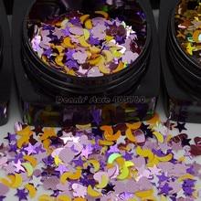 En gros 12 couleurs paillettes mélange formes lune étoiles coeur acrylique Nail Art strass paillettes tranche décorations manucure ensemble