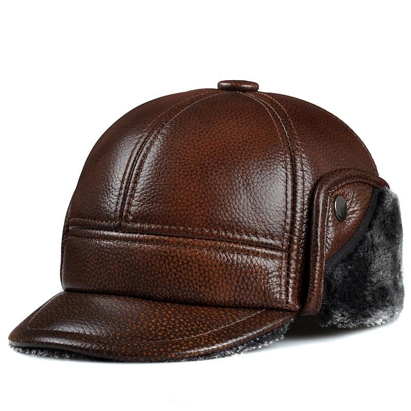 قبعة شتوية من الجلد للرجال ، قبعة بابا ، جلد نقي ، دافئ ، آذان متوسطة ، حماية مطر عالية الجودة بثلاثة ألوان ، مجموعة جديدة
