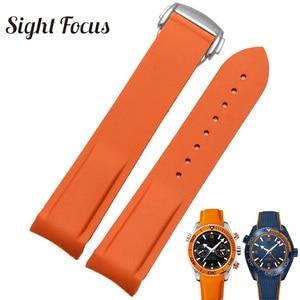 Rubber Silicone Watch Band for Omega Speedmaster Seamaster Aqua Terra Watch Belt 20mm 22mm Men Watch Strap Orange Clock Bracelet