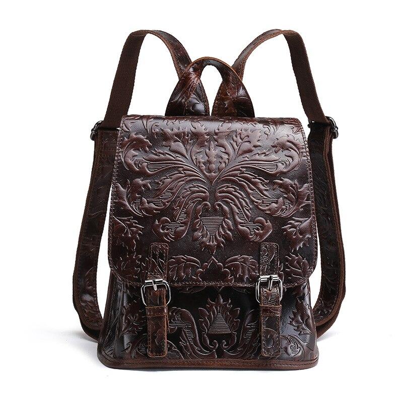 Couro genuíno das mulheres em relevo mochila natural macio daypack primeira camada de cera óleo mochila sacos de escola lazer
