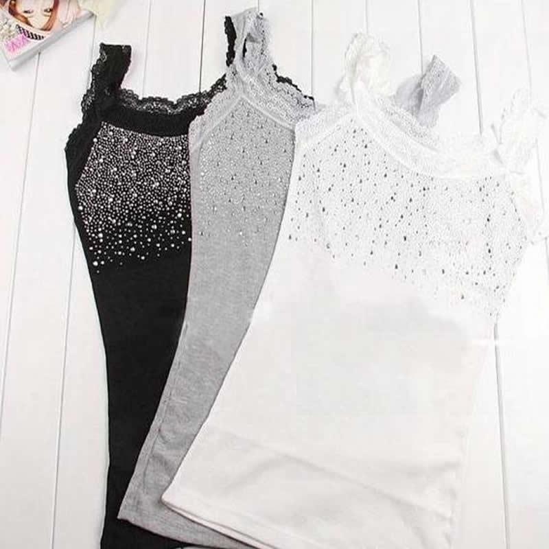 Women Sexy Rhinestone Lace Stunning Based Sleeveless Vest Tank Top Tee T-Shirt Black White Gray Camisole Cami Shirt Slim 20