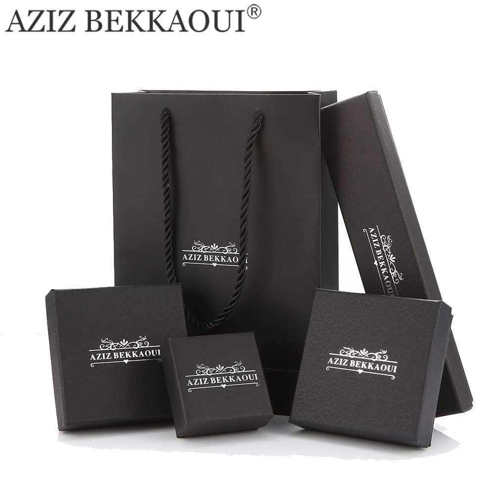 Cajas de embalaje de joyas marca AZIZ BEKKAOUI para pulsera collar anillo pendiente regalo negro fresco cajas para joyería embalaje de moda