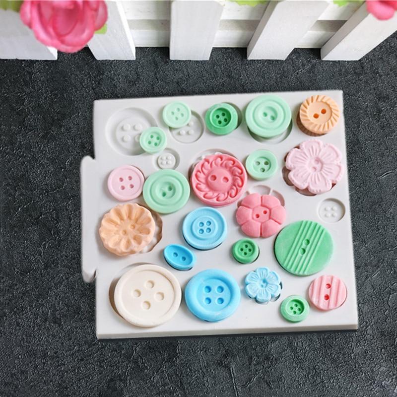 Molde de silicona con botón Aouke DIY para fondant, utensilio para dulces de azúcar y chocolate, utensilios de cocina para hornear