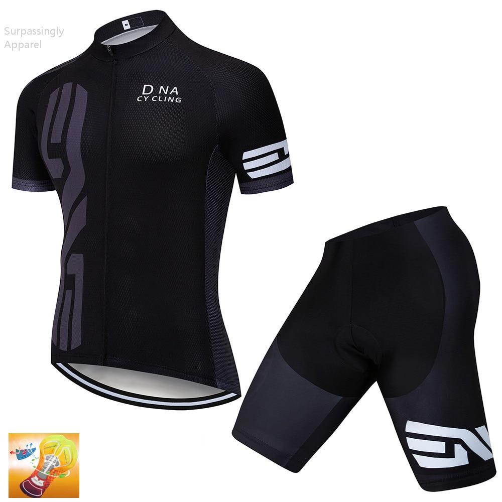 2019 Tour Team Bike Jersey conjunto negro Ropa Ciclismo Maillot verano manga corta hombres Ciclismo Jersey transpirable 16D Gel Pad
