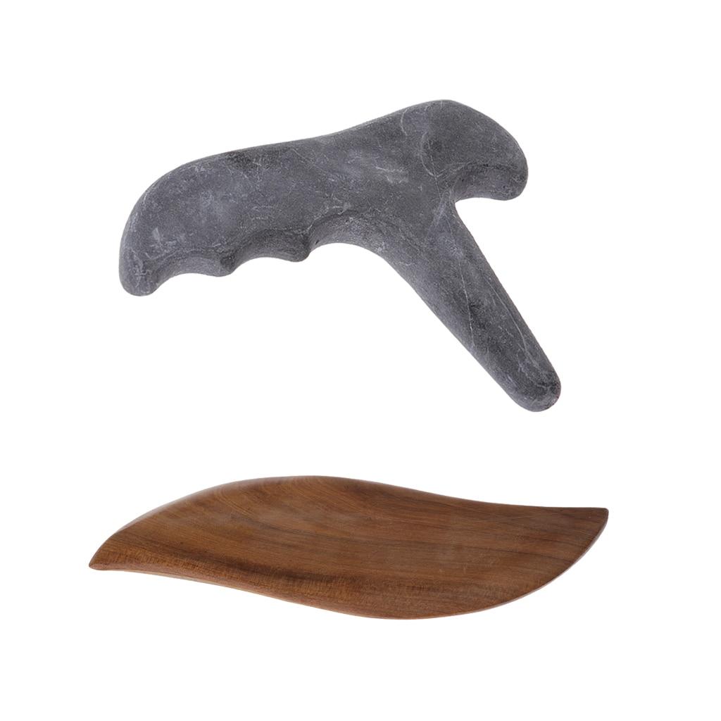 2 piezas de madera de sandalia piedra raspado Guasha masaje punto gatillo masajeador
