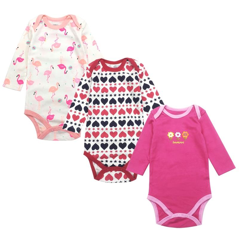 Baby Bodysuit Newborn Babies Boys Girls Body Random 3 Pack 3 6 9 12 18 24 Months Infant Long Sleeve Bodysuits