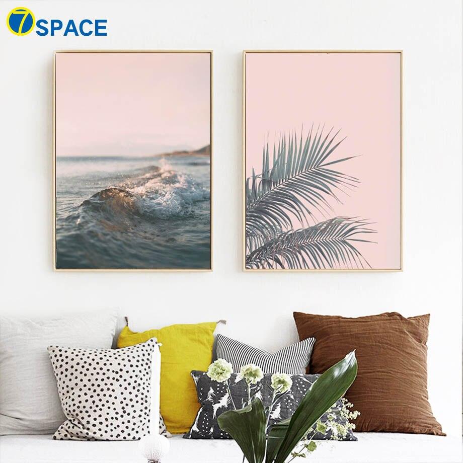 Folhas de banana mar oceano ondas parede arte da lona pintura nordic posters e cópias paisagem fotos para sala estar decoração