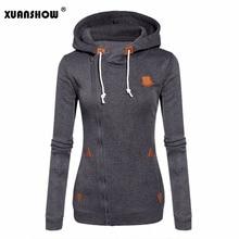 Xuanshow 2019 moda feminina fleeces sweatshirts com capuz cores doces sólido camisola de manga longa zip up roupas sudaderas mujer