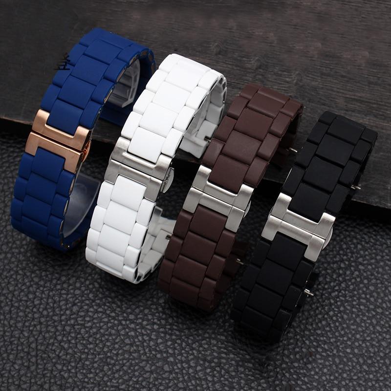 NEUE Herren 23mm Schwarz Wasserdicht Silikon Gummi Uhr Band Straps Fit AR5890 AR5905 AR5919