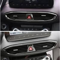center warning lights air conditioning outlet vent cover trim fit for hyundai santa fe 2019 2021 interior mouldings abs