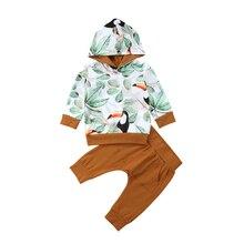 2018 Autumn Winter Newborn Baby Boy Girl Long Sleeve Hooded Sweatshirt Tops+Long Pant Trouser 2PCS Outfits Baby Clothing Set