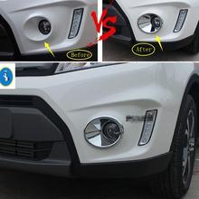 Yimaautotrims Auto Accessory Front Head Fog Lights Lamp Frame Cover Trim ABS Chrome Fit For Suzuki Vitara 2015 2016 2017 2018