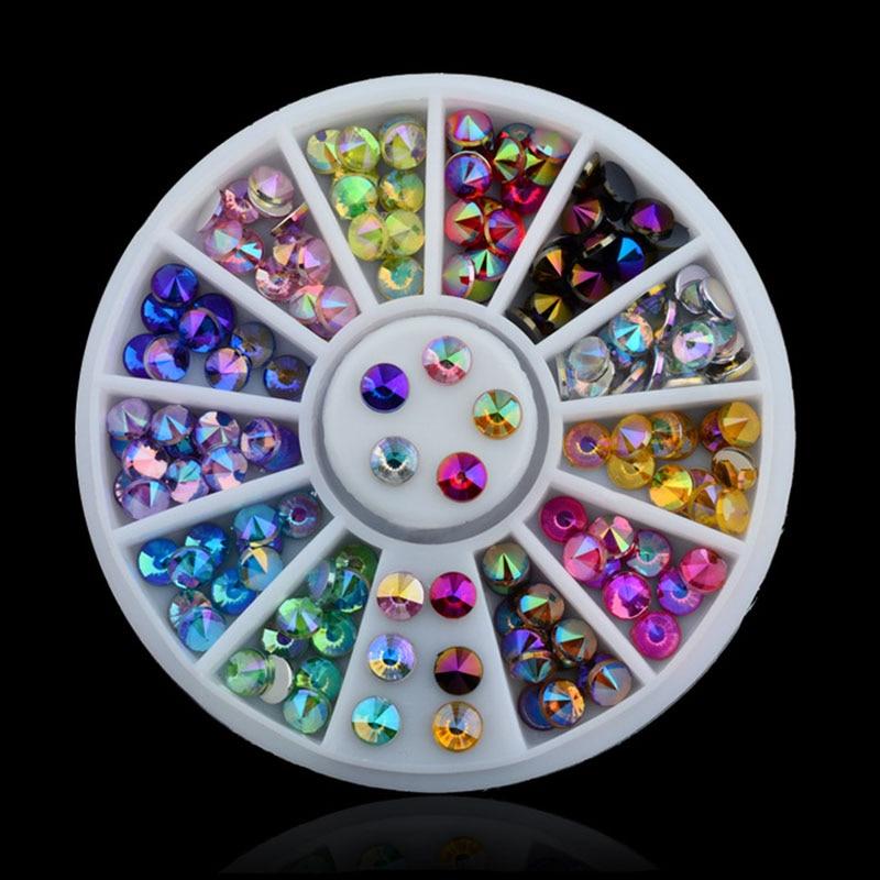 Mixed Color Chameleon Rhinestone DIY Glitter Acrylic AB Rhinestones Nail Wheel Charm 3D Nail Art Decorations Manicure Nails Tool