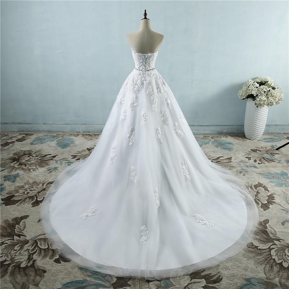 فستان زفاف من الدانتيل بتصميم زهرة بيضاء عاجية ، خط خصر كريستال ، للعرائس ، مقاس كبير ، 2-26 واط ، ZJ9032 ، 2019 ، 2020