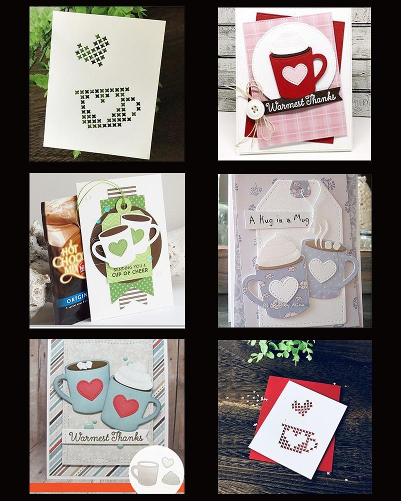 2 pçs café chá amor copo de metal corte dados para diy scrapbooking papel cartão álbum diário gravando pintura decoração artesanato metal