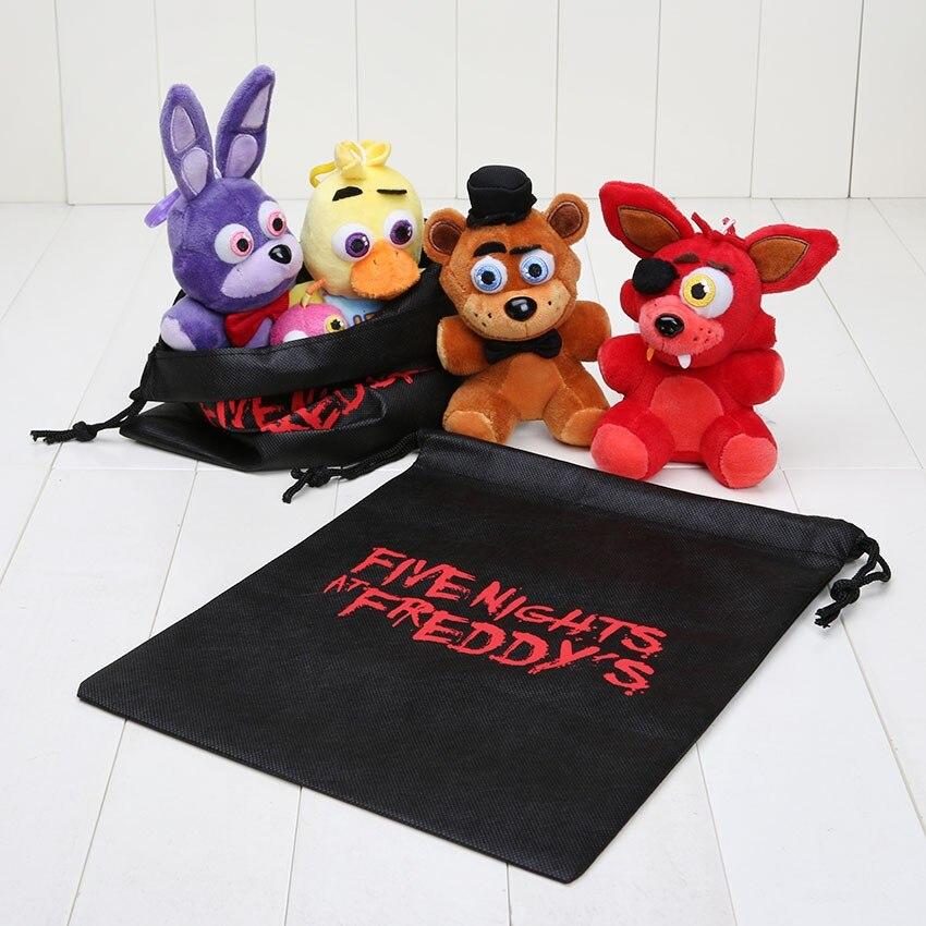 4pcs/set 14cm Five Nights at Freddy FNAF Fox Bear Bonnie Toys Plush Pendants Keychains Dolls with Bag