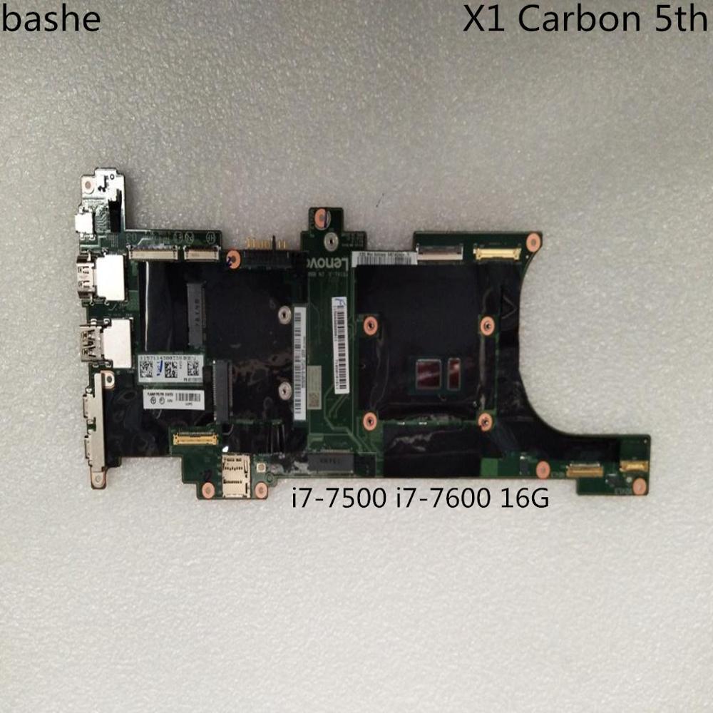 Nm-b141 para Lenovo Thinkpad X1 carbono 5th placa base de computadora portátil i7-7500 i7-7600 16G FRU 01AY069 01LV437 100% prueba de envío gratis