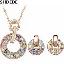 SHDEDE ensembles de bijoux de mode collier boucles doreilles pour femmes cristal coloré de Swarovski or Rose pendentifs cadeau