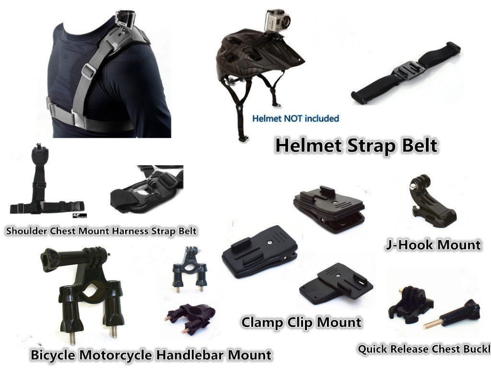 Kit de accesorios deportivos para exteriores para XIAOMI Yi, GOPRO Hero 4, 5, 6, 7, negro, plateado, blanco, SOOCOO, EKEN, Wimius, Q1, DBPOWER, SEENTRON, APEMAN