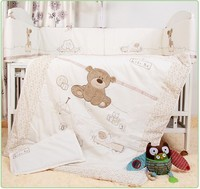 קידום! 7 יחידות רקמת תינוק מיטת סט מצעים שמיכת פגוש גיליון (פגושים + גיליון שמיכת + כרית)