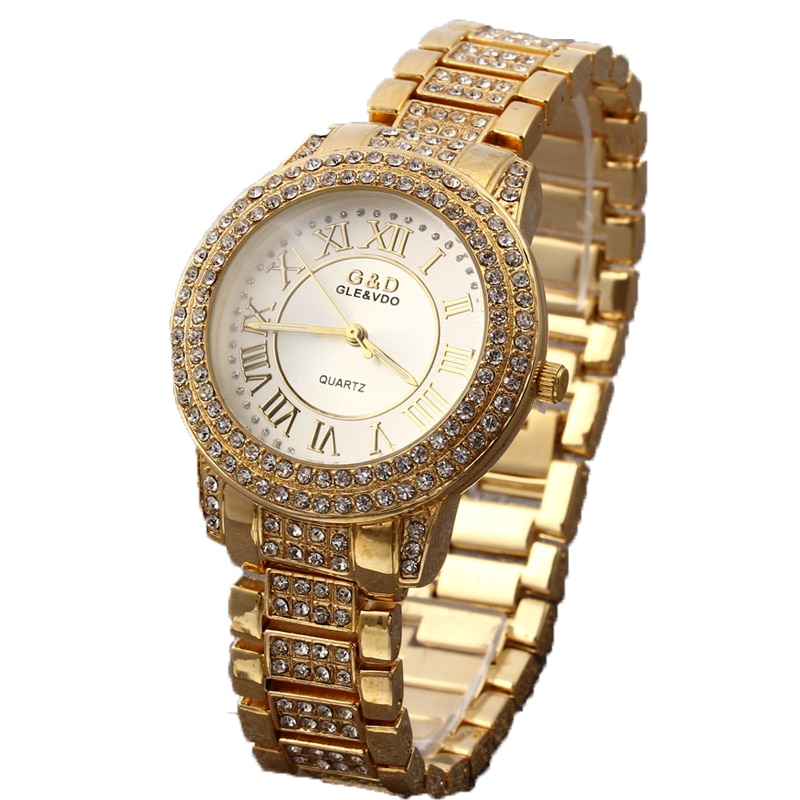G&D Women Single Chain Gold Stainless Steel Band Women's Fashion Rhinestone Watch Analog Wrist Watches enlarge