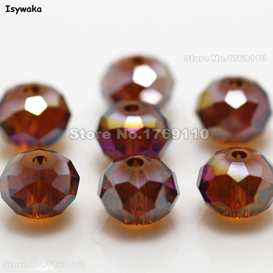 Isywaka темно-коричневый цвет АВ 8*10 мм 70 шт., австрийский граненый хрусталь Rondelle, свободный разделитель бисер, круглые бусины для самостоятельн...