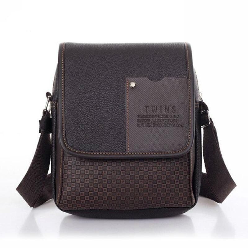 Business Men Shoulder Bag Soft Leather Men's Crossbody Bags Plaid Pattern Small Male Messenger Bags Handbags Bolso Hombre DB4834
