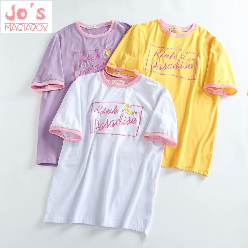Kawaii Tee Moon camiseta Corea del Sur ulzzang Harajuku japonés dulce salvaje hermana bordado de Luna fight estudiantes chicas camiseta