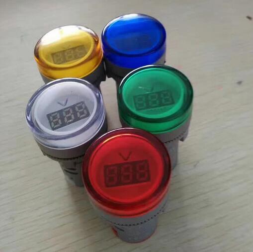 Voltímetro digital ca de 22 MM, 60-700 V, rojo, verde, amarillo, azul, medidor de voltaje, lámpara indicadora de pantalla Digital AD16