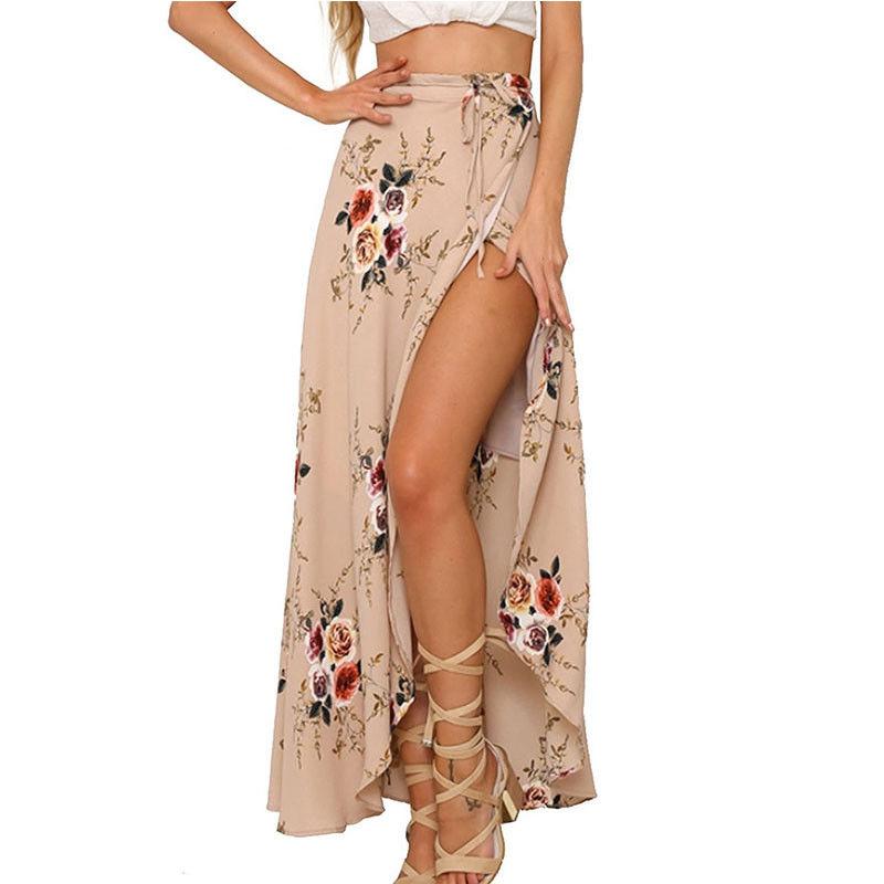 Mujer verano cintura alta Alta Split impreso Maxi falda gasa plisada larga Casual Boho