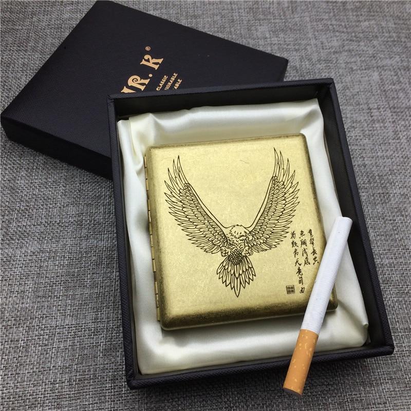 Персонализированная медная коробка для сигарет Flying Eagle, мужские металлические коробки для сигарет с лазерной гравировкой, коробка для хран...