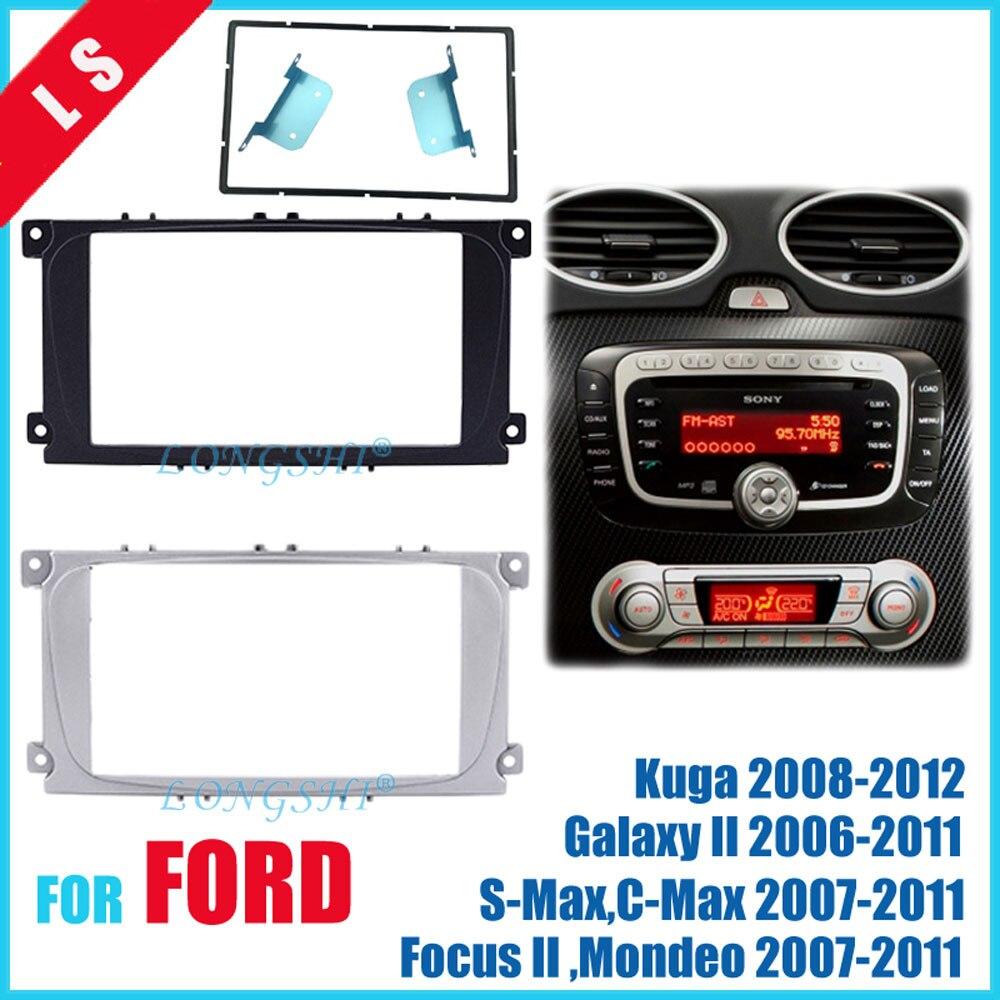 2 Din Автомобильная Радио фасция для Ford Focus II Mondeo Kuga S-Max C-Max Galaxy II стерео набор для приборной панели подходит для установки обшивки рамки Facia 2di