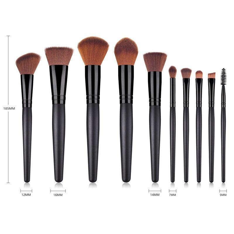 10 шт., набор кистей для макияжа, черная деревянная ручка, высокое качество, тени для век, румяна с большим пламенем, набор кистей для макияжа, пудра, Тональная основа, T10171