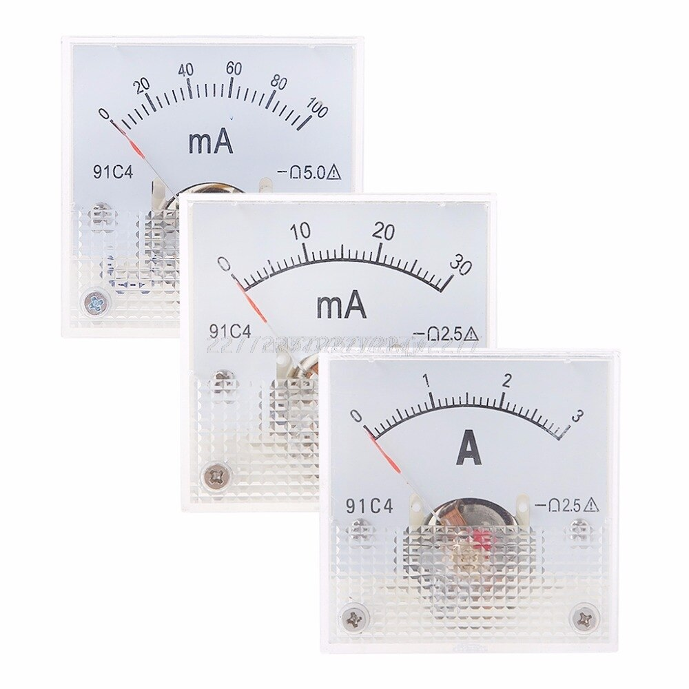 91C4 amperímetro DC Panel de medición de corriente analógico puntero mecánico tipo 1/2/3/5/10/20/30/50/100/200/300/500mA A02 19 Dropship