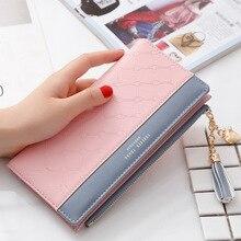 Luxus Leder Brieftasche Frauen Karte Halter Zipper Telefon Tasche Damen Geldbörse Lange Geld Tasche Quaste Frauen Brieftaschen Kupplung Portfel W264