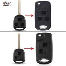 Dandkey modifié 2/3 bouton clé à rabat coque pour Lexus GX470 RX350 ES300 RX300 RX400h SC GS LS coupe/non coupé étui à clé vierge