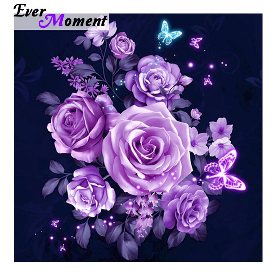 Alguna vez momento pintura diamante elegante púrpura pintura de flores, diamantes Kits punto de cruz Rosa plena plaza mariposa ASF1020