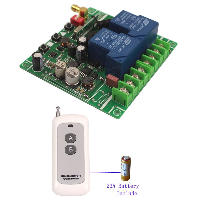 Interruptor de Control inalámbrico de amplio voltaje de 12V-48V, 30A, 2 canales, sistema de puerta eléctrica de 12V 24V 48V, interruptor de relé (teclas 2/3 llaves)